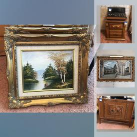 MaxSold Auction: This online auction features a refrigerator, washer and dryer, mid-century living room and bedroom set, wooden carved bed and cabinets, Noritake china, hanging and chandelier lamps, ornate framed art, mobility walker, garage accessories and much more!
