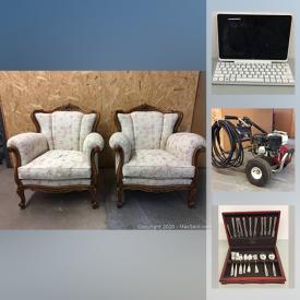 MaxSold Auction: This online auction features Rigid miter saw utility vehicle, portable Husky folding workbench, Rigid 18 Guage Brad nailer, DeWalt drill, cases, batteries, cordless multi saw, Honda GX200 3000 PSI Heavy-duty pressure washer, Samsung WAM 1500 wireless speaker, sunbeam Rotisserie, assorted hand tools, clamps, Ryobi gas-powered weed wacker and much more.