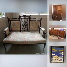 MaxSold Auction: This online auction features several pieces of antique furniture, rattan furniture, costume jewelry, men's watches and jewelry, flatware, original signed art, art prints, electronics, office furniture, office supplies and much more.
