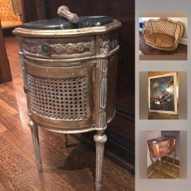 MaxSold Auction: This online auction features framed original art, classical furniture, antique French clock, topiaries, Yamaha keyboard, Bergere chair, Leonardo Nierman art, teacups, silver plate, Venetian mirror, plaster art, exercise equipment, toys, gateway computers, mirrored dresser and much more!