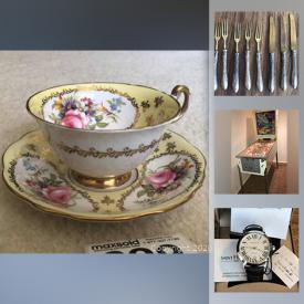 MaxSold Auction: This online auction features pinball machine, pocket watches, Haviland Limoges, Ornithological plates, Shelley Dainty blue, teacups, Coalport broadway, vintage games, soapstone carvings and much more!