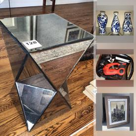 MaxSold Auction: This online auction features Mahogany furniture, antique tilt-top tea table, blue & white ginger jar, Myott dinnerware, framed art, Bergere chairs, shop-vac, NIB pampered chef, Berber carpets, bar fridge, modern pendant lamps, power tools, stone sculpture and much more!