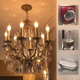 MaxSold Auction: This online auction features fireplace mantle, Gothic sink basin, Maytag washer & dryer, iron gates, bathroom vanities, beer tap, crystal chandeliers, claw foot bathtub, Renaissance sconces, professional range, professional wine fridge, florentine mirrors, iron chandeliers and much more!