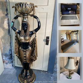 MaxSold Auction: This online auction features MCM Lighting, small kitchen appliances, art deco lighting, excercise equipment, MCM furniture, sports equipment, NIB doll house furniture, antique compote dishes, vintage books, laptop computer and much more!