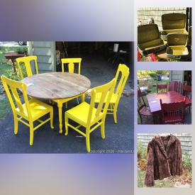 MaxSold Auction: This online auction features seasonal decor, vintage table and chairs, Santa figurines, cages and trays, party frocks, dusters, dresses, bonnets, hats, costume jewelry, decor and much more!