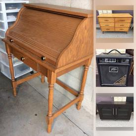 MaxSold Auction: This online auction features a roll-top desk, wicker drawer storage unit, 3D wooden puzzle, metal chandelier, security light, office desk, upholstered furniture and much more!