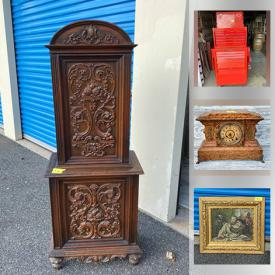 MaxSold Auction: This online auction features antique religious paintings, antique Victorian Gothic chairs, brand new Nishiki bikes, antique Bronze sculptures, vintage brass griffin candlesticks, antique mantle clocks and much more!