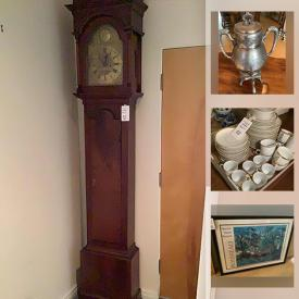 MaxSold Auction: This online auction flatscreen TVs, antique furniture, Opaline glass vase, framed artwork, Hampton grandfather clock, fine China, Marble vases and much more!