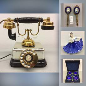 MaxSold Auction: This online auction features antique floor lamp, vintage serving ware, brass vanity sets, teacups, computer parts, vintage Hudsons bay point blankets, pocket watches, folding walkers, glass art, outerwear, costume jewelry, power & hand tools and much more!