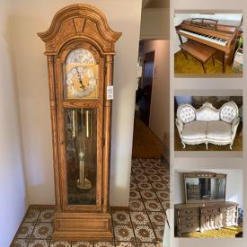 MaxSold Auction: This online auction features collectibles such as Ridgeway grandfather clock, Noritake, perfume bottles and Spode, furniture such as Bassett dresser, side tables, dining set, headboards, nightstands, Lane cedar chest, and vintage settee, electronics such as karaoke machine, cameras, and vintage stereo, Rippen piano, home decor, men's and women's clothing, outerwear, footwear, and hats, board games, bathroom appliances, lamps, sporting equipment, stuffed animals, books, holiday decor, costume jewelry, infant clothing, handbags, exercise equipment, new linens, luggage, porcelain, wall art, glassware, stemware, NIB small kitchen appliances, Sharp microwave, shelving unit, CDs, DVDs, automotive equipment, craft supplies, sewing machines, Husqvarna lawn mower, home hardware, vintage toys, camping equipment, children's and adults' bicycles, patio sets and much more!
