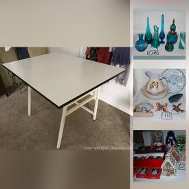 MaxSold Auction: This online auction features blue glass dishes, Lenox ornaments, ceramic Christmas tree, dept 56 ornaments, decorative plates, art table and much more!