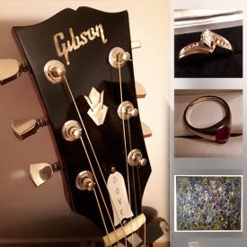 MaxSold Auction: This online auction features Gibson Dove acoustic guitar, diamond ring, men's gold ring, Andrew Plum painting, soapstone carving, art glass, Turquoise & silver jewelry, teacups, Lladro figurines, porcelain dolls and much more!
