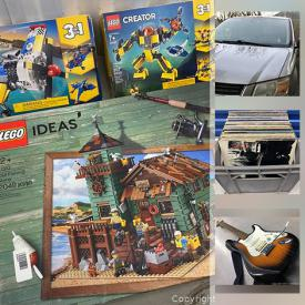 MaxSold Auction: This online auction features lego mini-figures and sets, vintage tapes, Nexo Knights, vinyl records, books, vintage toys, comic books, electric guitars, 2008 Grand Caravan, flute and much more!