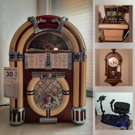 MaxSold Auction: This online auction features vintage radios, toy cars, baseball, railroad apikes, vintage fire truck, Coco-cola collection, luggage, vintage mechanical monkeys, metal detector, model wooden ships, electric scooter, projector, microscope, stamps, vintage clocks, chest of drawers, king size sleigh bed style with leather back, cake saver with cake stand. Banana holder, Glass bowl, pie dish, skillet, vintage pyrex, small kitchen appliances and much more.