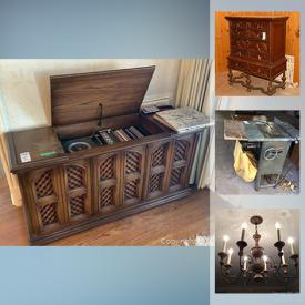 MaxSold Auction: This online auction features collectibles such as sterling silver, silver plate, crystal ware, and fine china including Spode, Limoges and Aynsley, furniture such as armchairs, wooden tables, sleigh bed, antique cabinet, rattan and wicker pieces, art such as signed paintings and framed prints, electronics such as HP printer, Samsung monitor, and Sherwood speakers, area rugs, fabric, chandelier, home decor, glassware, table lamps, shelving, holiday decor, cookware, stemware, table saw, books, vintage toys, luggage, bookcases, costume jewelry, Singer sewing machine and much more!