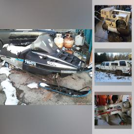 MaxSold Auction: This online auction features Polaris snowmobile, car parts such as AR Chevy race car body parts, Nissan transmission, Nissan engines, steel rims, truck grills, tires, block engines, race car radiator, Ford rear ends and race car chassis, power tools such as metal lathe, Astro bandsaw, Mastercraft bench grinder, radial arm saw, Power First metal shear, sandblasters, DeWalt drills,