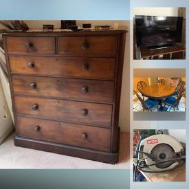 """MaxSold Auction: This online auction features collectibles such as fine bone china, silver plate, vintage records and sterling silverware, furniture such as round table with chairs, leather sofa, coffee table, china hutch and antique dressers, electronics such as 40"""" Sanyo TV and Brother printer, art such as Kenyan statuettes, framed prints, and textured wall art, glassware, dishware, kitchenware, office supplies, linens, small kitchen appliances, board games, lamps, copperware, area rugs, luggage, costume jewelry, vacuums, bookshelves, power tools, golf clubs and much more!"""