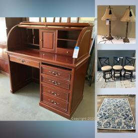 MaxSold Auction: This online auction features silver plate, Lenox, furniture such as wood pedestal table, storage ottoman, lounge chair, and Malaysian roll-top desk, Bose speaker, area rugs, framed canvas wall art, wall clocks, books, pottery, Asian home decor, accessories, bedding sets, dishware, kitchenware, small kitchen appliances, exercise equipment, shelving, lamps, file cabinet and much more!