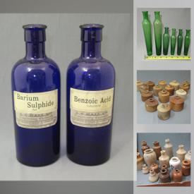 MaxSold Auction: This online auction features jar, a large collection of antique bottles such as Bermuda Codd, Demi-John, stoneware beer bottles and much more.
