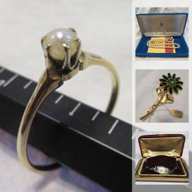 MaxSold Auction: This online auction features antique Chinese silver ornaments, antique bracelets, brooches, opal ring, vintage costume jewelry Majorica pearl necklace, sterling silver rings, abalone, pendants and much more!