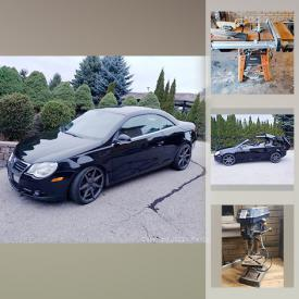 MaxSold Auction: This online auction features 2007 VW Turbo hard top convertible, coins, silver maple leaf bar, Tshirt heat press, security camera system, sports cards, power tools, plasma cutter, bird cages, lawnmower, RC helicopter, speaker wire and much more!