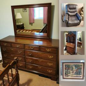 MaxSold Auction: This online auction features Mahogany furniture, Teak furniture, depression glass, teapots, art glass, vintage tools, small kitchen appliances, electric drum kit, wooden mosaic art, art books, collector plates, art pottery and much more!