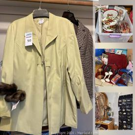 MaxSold Auction: This online auction features shawls and scarves, linen, clothing, shoes, hats, standing coat rack, decor, electric hospital bed, costume jewelry, beauty items, exercise items, fitness items, dinnerware, crafting supplies, handbags, outdoor decor and much more!