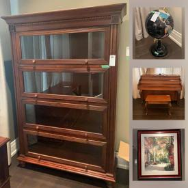 MaxSold Auction: This online auction features a piano and bench, globe, cooking skillets, dishes, small kitchen appliances, barrister bookcase, art, bedframe, end tables, world clock, books, armoire, chevalier mirror, bedding, telescope, chairs, bar stools, electronics, tires and much more!