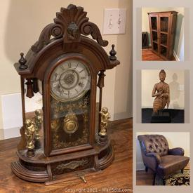 MaxSold Auction: This online auction features antique clock, golf clubs, ceramic vase, Tufted arm chairs, art pottery, carved Buddha, decorative boxes and much more!