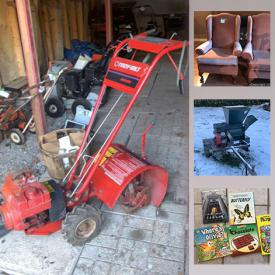MaxSold Auction: This online auction features bikes, kid's books, learning puppets, hand tools, camera equipment, golf clubs, propane heater, commercial landscaping equipment, screws & nails, sandblaster, power tools, trailer, generator, riding lawnmower, lawnmowers, rototiller and much more!