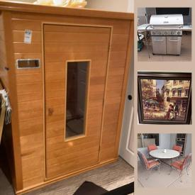 """MaxSold Auction: This online auction features outdoor patio furniture, foot massager, sauna, Kenmore outdoor grill, outdoor herb planter, signed art, 76"""" Sony TV, inversion table, Jurine personal health machine, vases, vinyl records, clothes steamer, signed art and much more."""