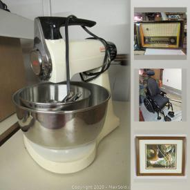 MaxSold Auction: This online auction features carved soapstones, art glass, art pottery, fine Bone China, wall art, teacups, garden tools, costume jewelry, small kitchen appliances, chest-deep freezer cameras, vintage bouncy horse and much more!