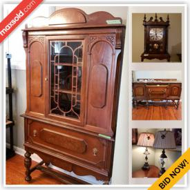 MaxSold Auction: This online auction features Art work, Oil Lamps, Mirrors, China Cabinets, Clocks, Books, Bookcases, Shop Vacuum, Refrigerator, Gardening tools and supplies, Kitchen Items and much more!