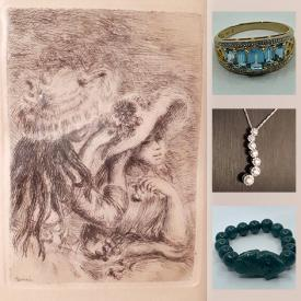 MaxSold Auction: This online auction features vintage gold jewelry, diamond necklace, Renoir etching, original abstract art, Jade bracelet, soapstone sculptures, vintage book, electronics, MCM lighting, glass art, black onyx rings and much more!