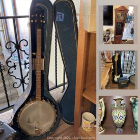 MaxSold Auction: This online auction features oriental vases, brass figurines, carved Inuit soapstone, Fender Squier mini guitar, Banjo, coca-cola collectibles, Fiestaware, healing stones, grandfather clock, RC dragon, jewelry, snowshoes and much more!