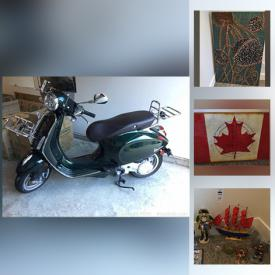 MaxSold Auction: This online auction features a Vespa 2020 Primavera, furniture such as a side table, queen bed, glass top table and chairs, entertainment console, storage ottoman, side table and more, fridge, storage shed cabinet, Husky tool chest, packaging supplies, toiletries, cleaning items, art, statuettes, vases, decor, hurricane lanterns, stuffed animals, Asian tea set, books, Sid Dickens memory blocks, fitness equipment, lamps and much more!