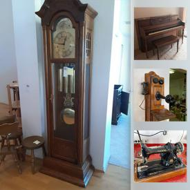 MaxSold Auction: This online auction features washer, dryer, antique furniture, grandfather clocks, Fenton carnival glass, Fiesta Ware, Blue Willow ware, collector plates, stereo components, Cuckoo clock, pocket watches, Orgasonic organ, Treadmill, sewing machines, boots & skis, antique farm tools, power tools, Native American art and much more!