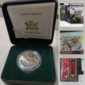 MaxSold Auction: This online auction features coins, sports cards, stamps, silverplate spoons, silks in binders, comics, magnifying glasses, banknotes, watches, vintage collector spoons, vintage books, shelving units, vintage magazines, commercial display cases and much more!