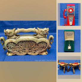 MaxSold Auction: This online auction features collectibles such as vintage gumball machine, art such as carved jade, signed sculptures, and framed prints, Diminuette speakers, camel saddle stools, jewelry such as sterling silver, 14k gold necklace, and beaded jade necklaces, glassware, home decor, signed pottery, watches and much more!