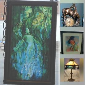 MaxSold Auction: This online auction features art glass, stained glass lamp, art deco furnishings, Alaskan Jade figurine, original framed artwork, Beaver top hat, vintage jewelry, Hoselton sculpture, espresso machine and much more!