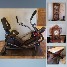 MaxSold Auction: This online auction features, fishing tackle, fishing rods, gardening supplies, vintage pyrex, vintage furniture, clocks, chinaware, antique glass, outdoor furniture, Treadmill, kitchen aide mixer and much more.