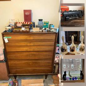 MaxSold Auction: This online auction features matchbox, Hess toy trucks, Lionel trains, metal toys, AC unit, Pyrex, kitchen items, lamps, furniture, MCM furniture, electronics, artwork, costume jewelry and much more.