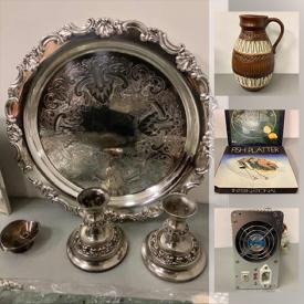 MaxSold Auction: This online auction features power supplies, crystal glasses, art pottery, Silverplate serving utensils, toys, small kitchen appliances, cross pens, LPs, office supplies, DVDs, board games, and much more!