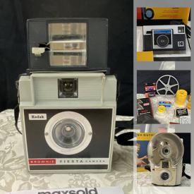 MaxSold Auction: This online auction features film cameras, video cameras, slide sorters, movie light with bulbs, film splicer tools, audio reels, flashbulbs, camera pieces, brownie movie cameras, Instamatic X-15 cameras and much more.