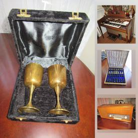 MaxSold Auction: This online auction features board games, electric organ, washer, dryer, vintage furniture, vintage pyrex, vintage steins, vintage clothing, Teak radio, vintage Mikasa ceramic pitcher, vintage fishing rods, golf clubs and much more!