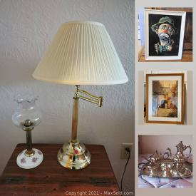 MaxSold Auction: This online auction features silver jewelry, costume jewelry, framed art, Wedgwood, office supplies, gardening supplies, lamps, fans, chest freezer, tools, band saw, table saw, Macramé, copper decor, brass decor and much more.