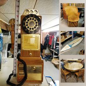 MaxSold Auction: This online auction features artwork, furniture, collectibles, silver ring, lamp, vase, vintage payphone, Ryobi tools, Grinder, TVs, lots of military badges, small paddle boat, a wood-burning stove, washing machine, rug and much more.
