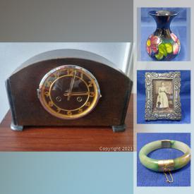 MaxSold Auction: This online auction features art deco mantle clock, stamps, Moorcroft vase, art glass, Dzi bead, Jade jewelry, silver jewelry, art glass and much more!