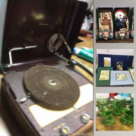 MaxSold Auction: This online auction features depression glass, NIB Portapuzzles, Rae Dunn decor, NIB Cohiba merchandise, art pottery, art glass, Asian wedding baskets, toys, vintage furniture, Lee Reynolds painting, Texaco collectibles, collector banks and much more!
