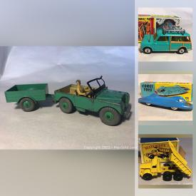 MaxSold Auction: This online auction features various die cast toys to include vintage Corgi, vintage matchbox, vintage Lesney, vintage Dinky, vintage Husky, Aurora, Mantua and Pemco Trains and much more.